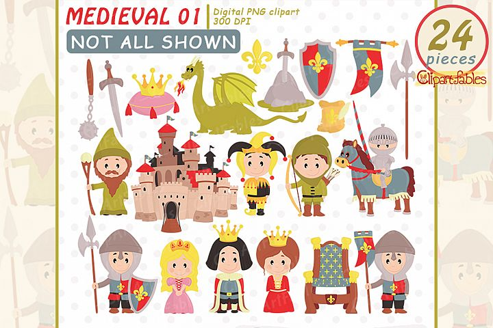 MEDIEVAL clipart, Fairy tale clip art, Cute dragon design