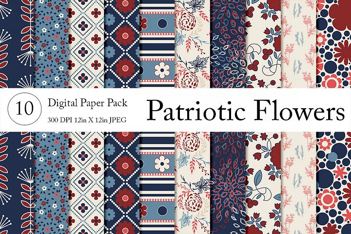 Patriotic Flowers Paper Pack