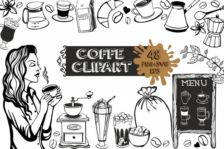 Coffe clipart black and white