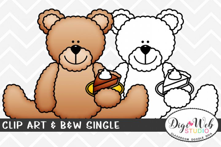 Clip Art & B&W Single - Thanksgiving Bear w/ Pumpkin Pie