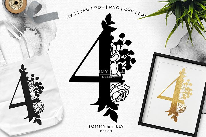 4 - Floral Bouquet Number Design - Paper Cut SVG EPS DXF PNG