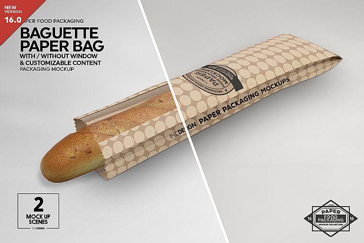 Long Paper Baguette Window Bag Packaging MockUp