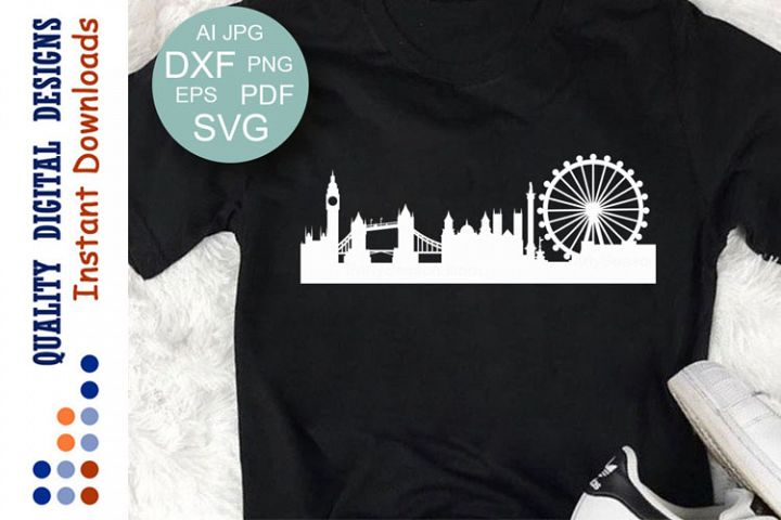 London Skyline Svg Cityscape Bridge Big Ben cutting file