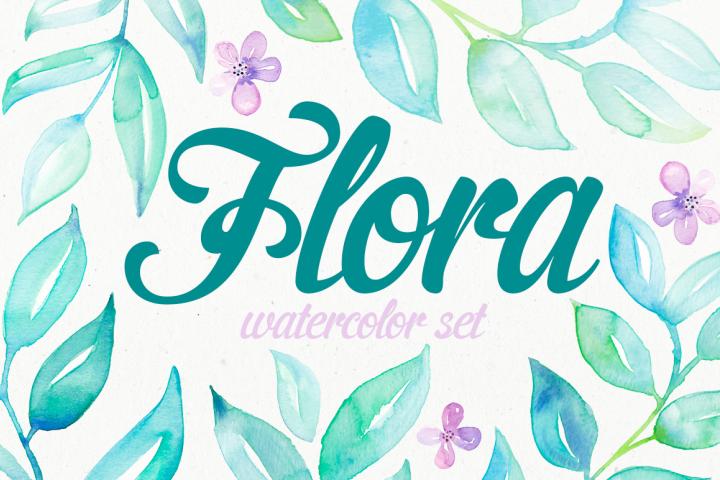 Flora watercolor set