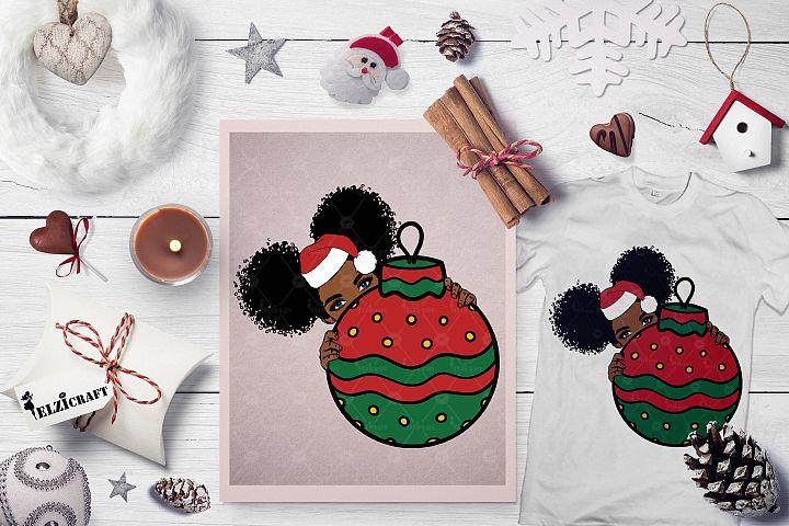 Christmas Ball, Cute Afro Girl Peeking, Hat SVG Cut File