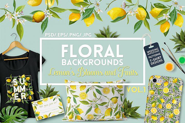 Watercolor Floral Design Set Lemons