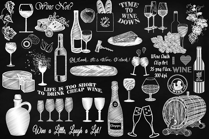 Wine and Cheese Chalkboard Clip Art