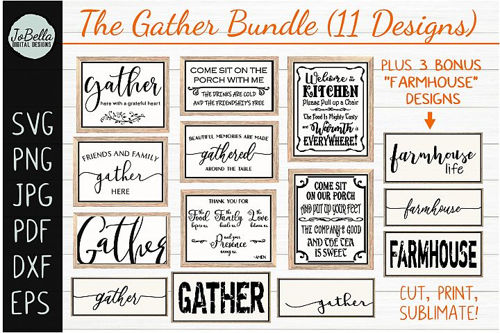 Gather SVG Bundle - 14 Farmhouse Wood Sign Designs