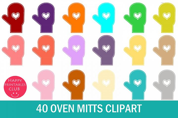 40 Oven Mitts Clipart- Mitten Clipart- Colored Mitten PNG