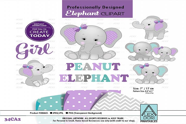 Elephant Mommy and Little Peanut with Purple Bow,Clip Art