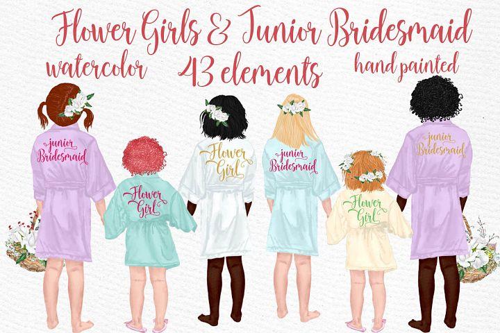 Flower girls clipart Junior Bridesmaids Wedding robes
