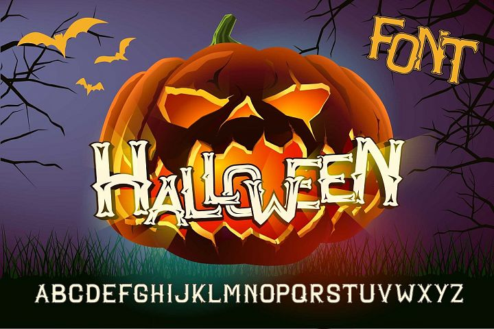 Vector Halloween font, with Evil pumkin poster.