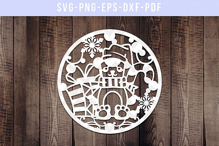 Winter Teddy Bear Papercut Template, Cut File, SVG, DXF, PDF