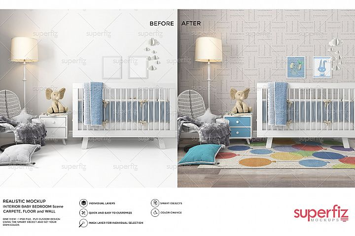 Wallpaper, floor, carpet and frame Mockup Baby Bedroom SM60
