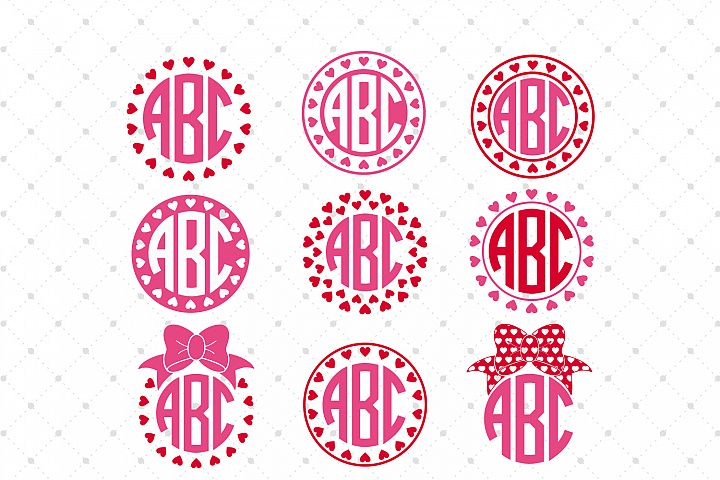 Valentines Day Monogram Frames SVG Cut Files