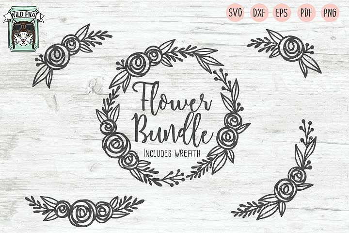 Flower SVG, Flower Wreath SVG file, Floral cut file, bundle