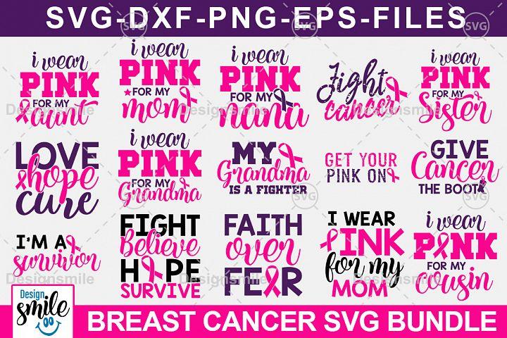 Cancer Awareness SVG Bundle | Breast Cancer SVG Cut Files