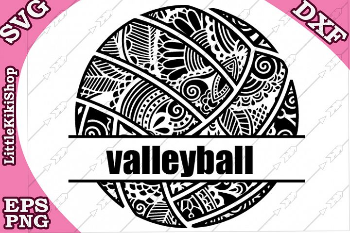 Volleyball Monogram Svg,Mandala Volleyball Svg,Zentangle Svg