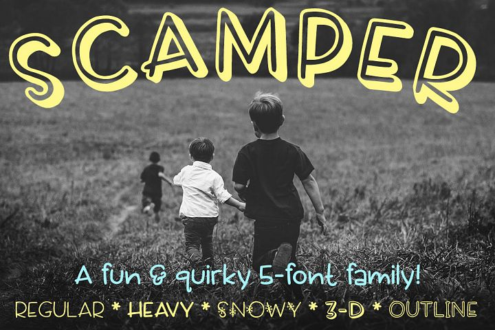 Scamper a five-font family