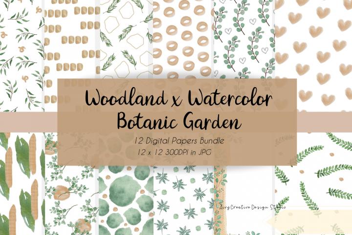 Woodland x Watercolor Botanic Garden Digital Papers Bundle