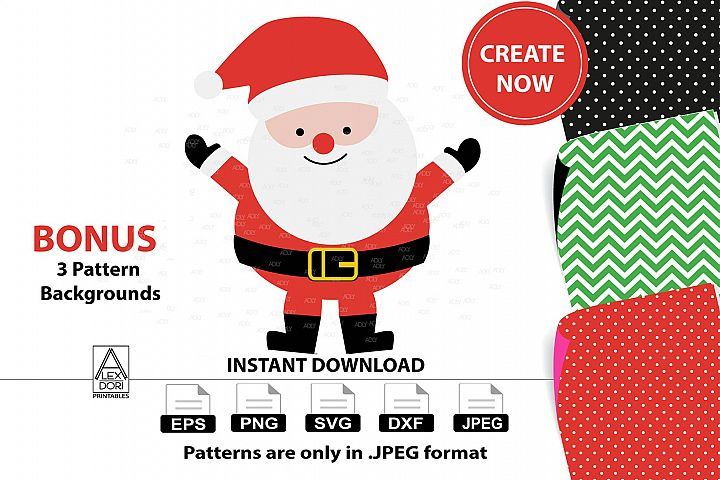 Cute Father Christmas with Red Hat in Vector Format,JPEG
