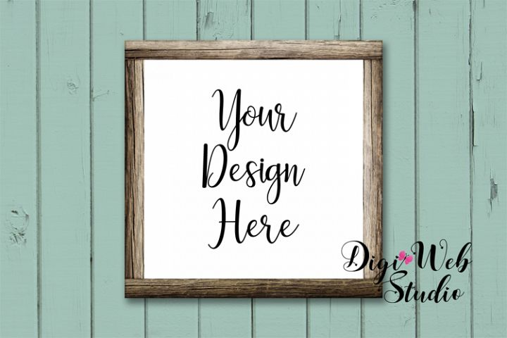 Wood Sign Mockup - Shabby Chic Wood Frame on Rustic Shiplap