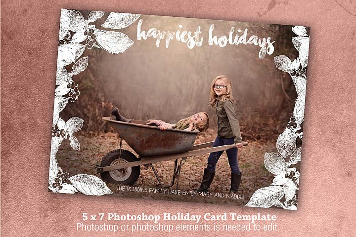 Happiest Holidays Photoshop holiday Card template