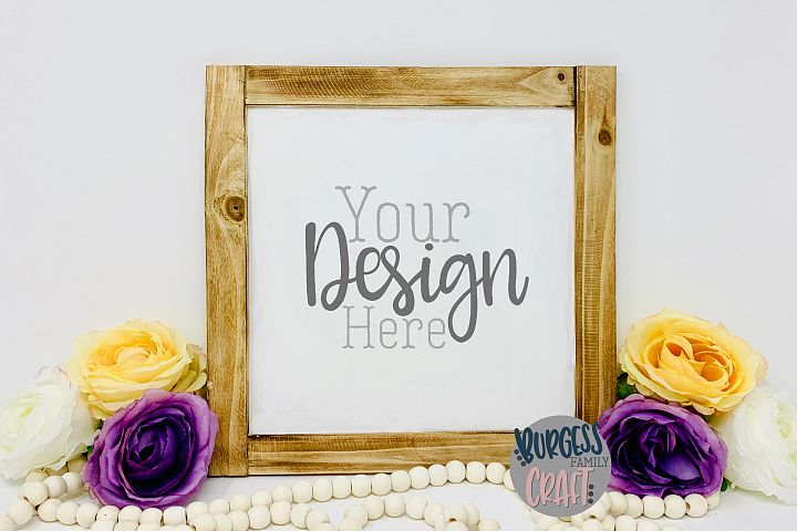 Pretty square wood sign with flowers Craft mock up