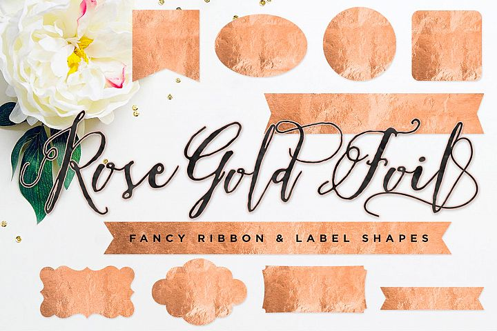 Rose Gold Ribbon & Label Shapes Copper Badge Backgrounds