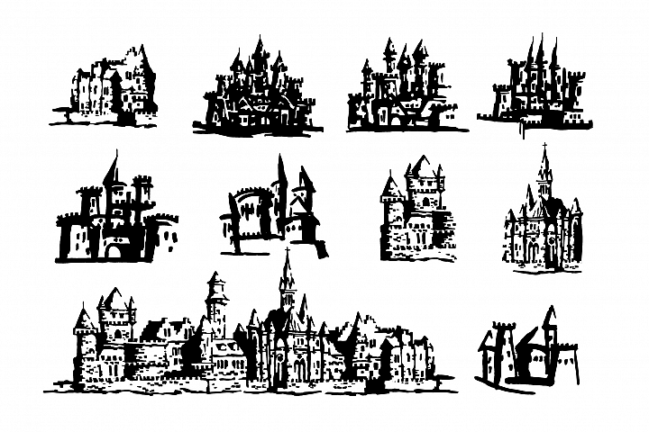 Castle hand drawn illustration set