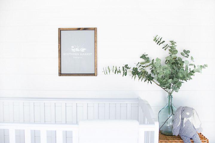 11x14 Nursery Sign Mock Up Wood Frame Styled Photography