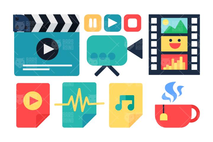 Multimedia Production Icons Set