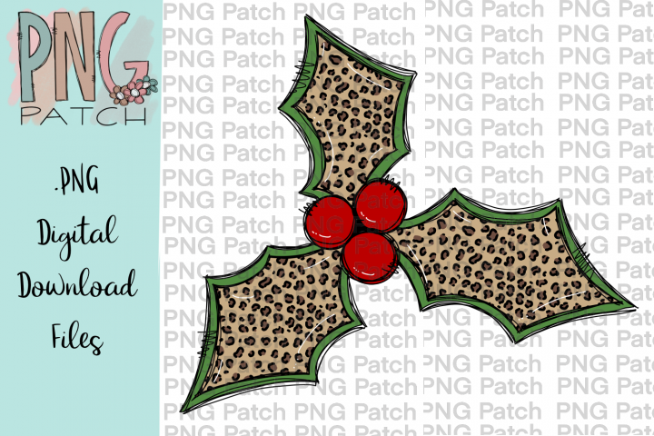 Leopard Print Holly Berry, Christmas PNG File, Sublimation
