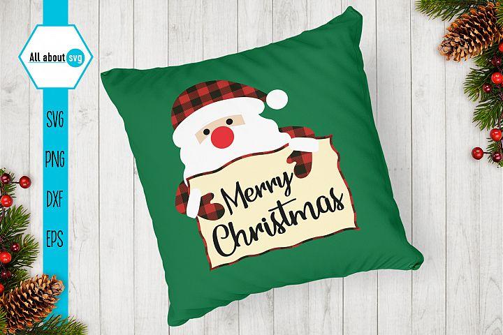 Merry Christmas Svg, Santa Claus Buffalo Plaid Svg example image 4