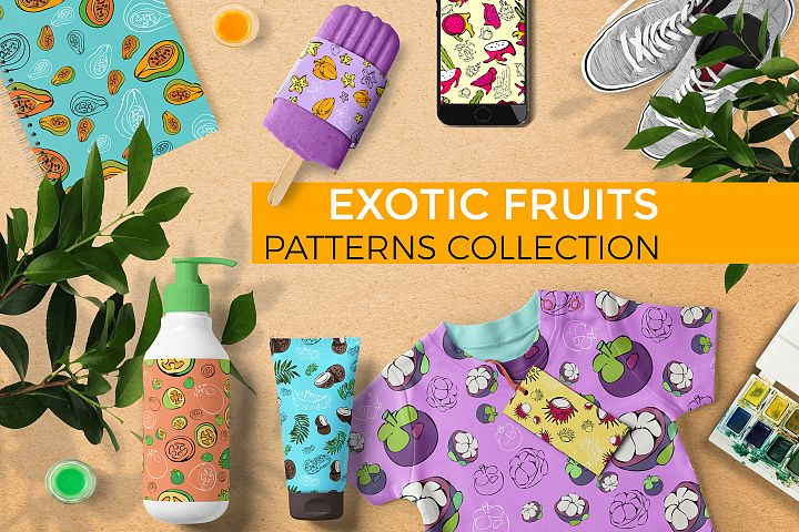 Exotic fruits. Patterns