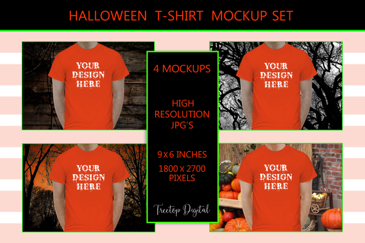 Halloween Men t-shirt Mockup Bundle, Orange Shirt Mock-Up