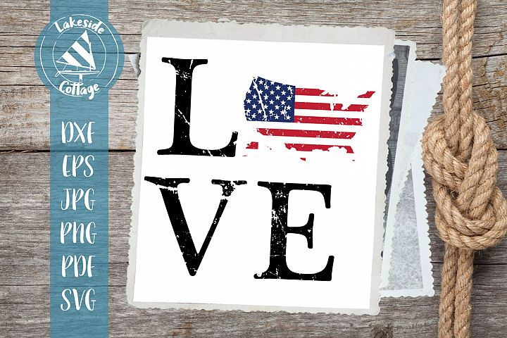 LOVE USA - 4th of july svg - memorial day svg dxf eps