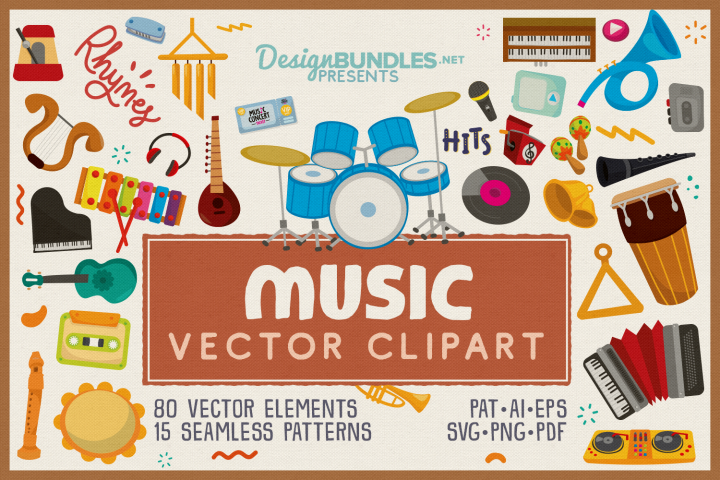 80 Music Vector Clipart and Seamless Pattern