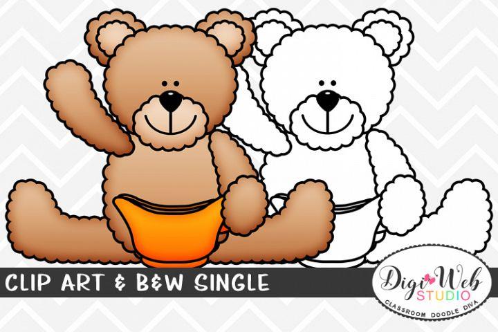 Clip Art & B&W Single - Thanksgiving Bear w/ Gravy Boat