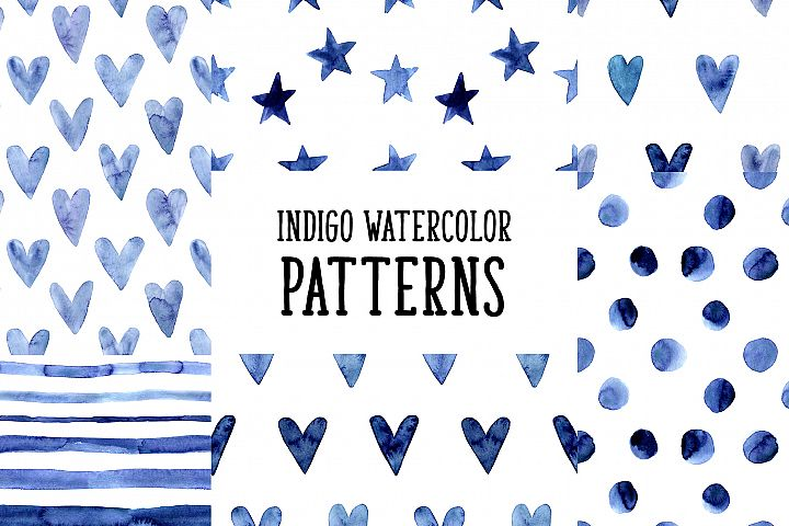 Indigo Blue Watercolor Patterns