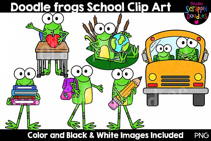 Doodle Frogs School Days Clip Art - Cute Frog Graphics