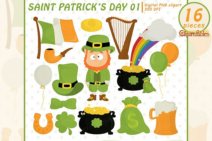St. PATRICKs Day Clipart, Leprechaun and Shamrock design