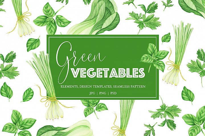 Watercolor green vegetables clipart