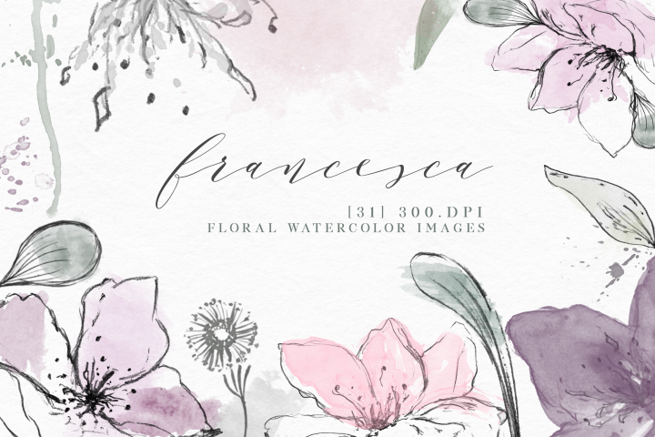 Francesca - Watercolor Floral Elements