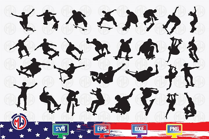 Skateboarder SVG, EPS, DXF, PNG for Cricut and More !