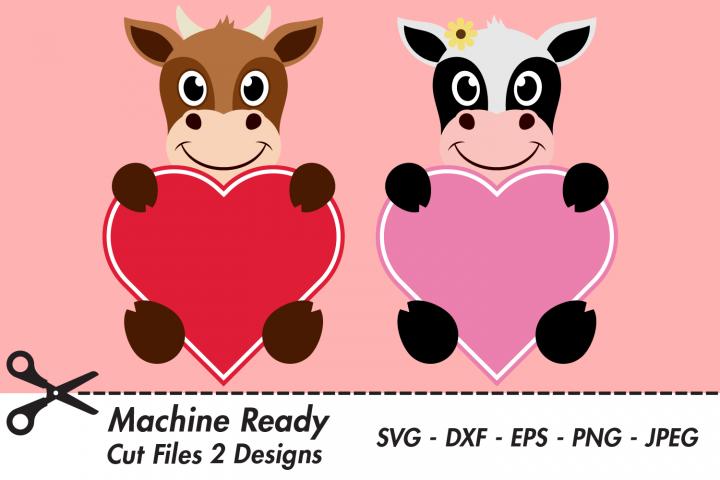 Cute Cow Valentine Heart SVG Cut Files, Happy Cows