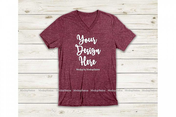 Maroon Marble Shirt Mockup, Bella Canvas 3005 V-Neck Tee