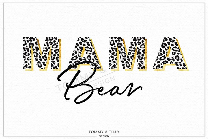 Leopard Print Mama Bear- Sublimation PNG Clipart