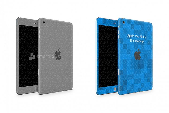 Apple iPad Mini 2 Tablet Skin Design Template Front-Back Ang