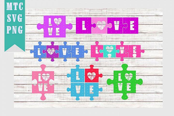 Love Heart Puzzle Autism BUNDLE of 7 SVG Cut Files